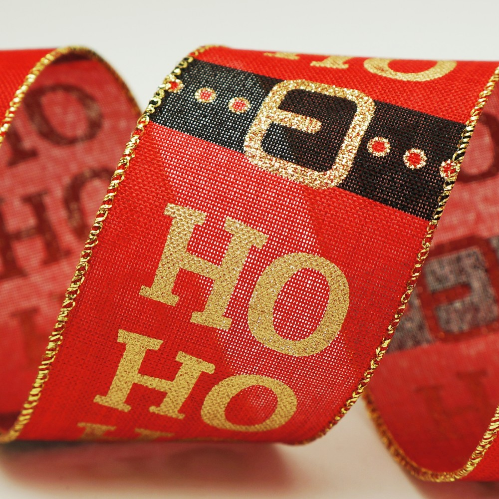 HO HO HO & Santa Belt Ribbon