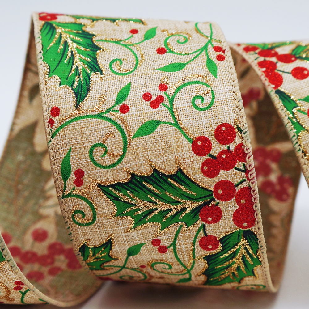 Holly Leaves & Berries Ribbon