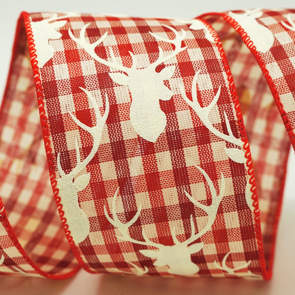 Reindeer Gingham Ribbon