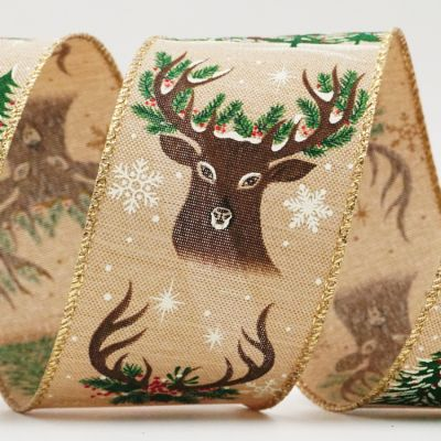Deer Head, Antlers & Forest Ribbon