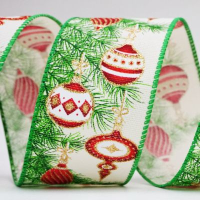 Bauble and Pine Leaves Ribbon