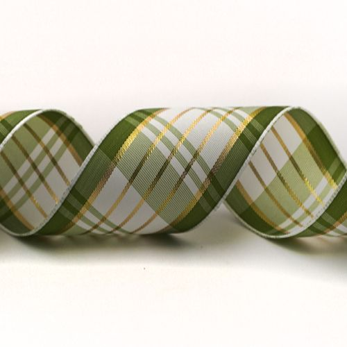 Plaid Ribbon with Gold Accent