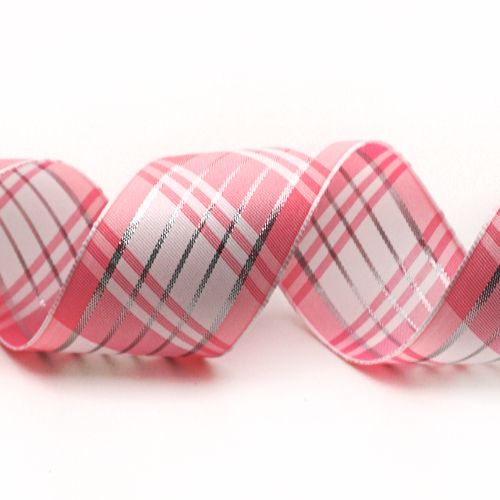 Plaid Ribbon with Silver Accent